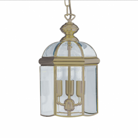 Solid Antique Brass 3 Light Hanging Lantern - 7133AB