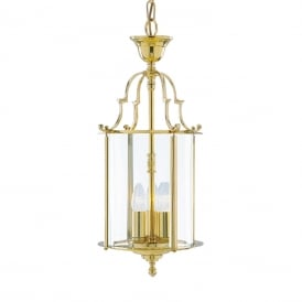 Solid Brass 3 Light Traditional Hanging Ceiling Lantern 3003-10