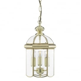 Solid Polished Brass 3 Light Hanging Lantern - 5133PB