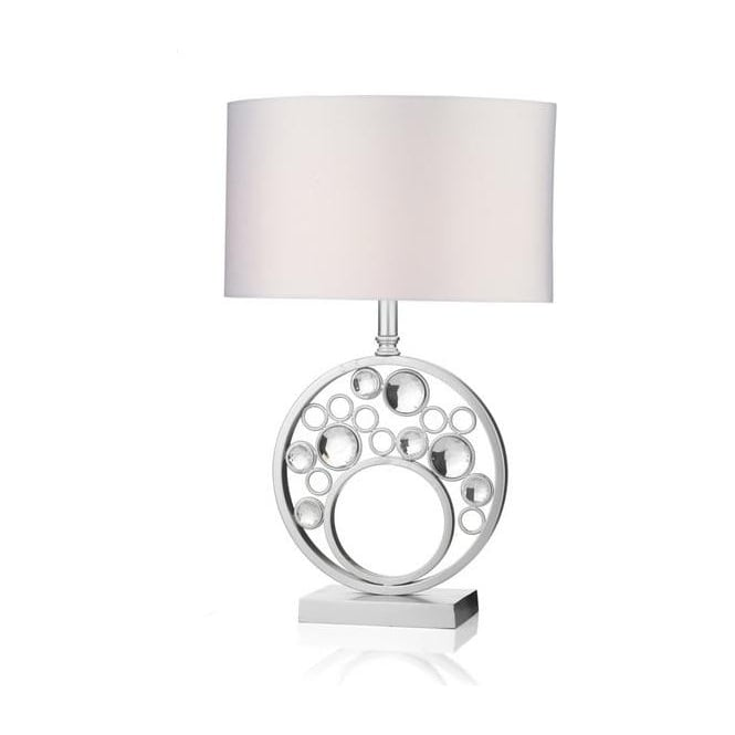 Dar Lighting SPH4232/X Sphere Silver Leaf Table Lamp With Shade