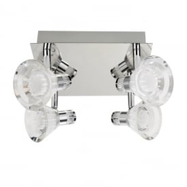 Square LED Bathroom Ceiling Spotlight Plate In Polished Chrome Finish 7474CC