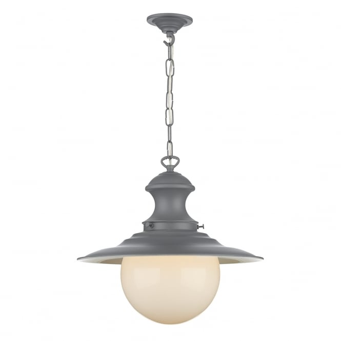 David Hunt Lighting Station Lamp In Lead Grey Finish With Opal Glass Shade EP39