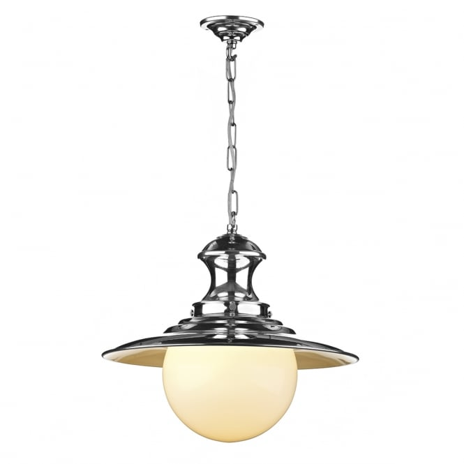David Hunt Lighting Station Traditional Ceiling Pendant Light In Polished Chrome Finish EP50