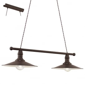 Stockbury Vintage 2 Ceiling Bar Pendant Light In Brown Antique Finish 49457