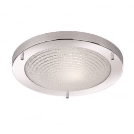 Stylish Flush Ceiling Light In Chrome Finish With Circle Pattern Design CF5754