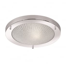 Stylish Flush Ceiling Light In Chrome Finish With Line Pattern Design CF5752