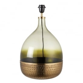 Green table lamps sultan stylish tinted green glass table lamp in satin brass finish 69804 aloadofball