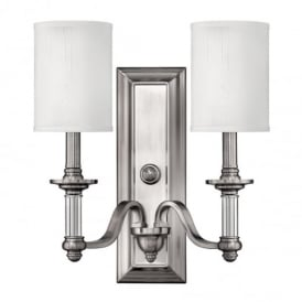 Sussex 2 Light Brushed Nickel Wall Light with Shade HK/SUSSEX2