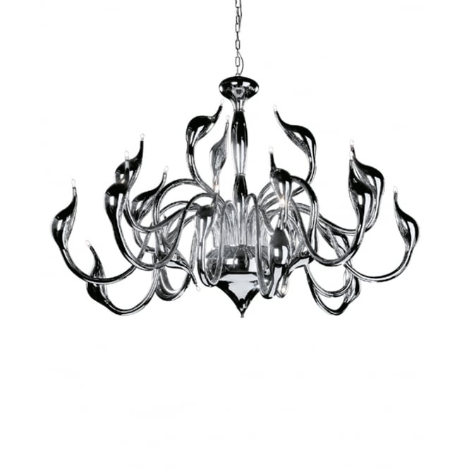 Illuminati Lighting Swan Contemporary 18 Light Ceiling Chandelier In Polished Chrome Finish MD8098-18ACHR