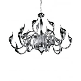 Swan Contemporary 18 Light Ceiling Chandelier In Polished Chrome Finish MD8098-18ACHR