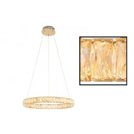 Swayze Elegant 1 Ring Ceiling Pendant In Brushed Brass Finish With Acrylic Decoration 70666