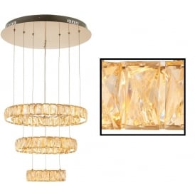 Swayze Elegant 3 Ring Ceiling Pendant In Brushed Brass Finish With Acrylic Decoration 70664