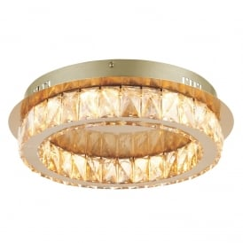 Swayze Elegant Flush Ceiling Light In Brushed Brass Finish With Acrylic Decoration 70665