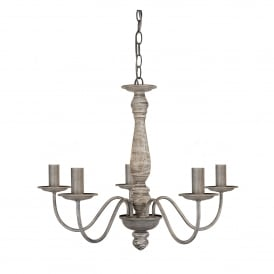 Sycamore 5 Light Contemporary Wooden Ceiling Pendant Light In Washed Grey Finish 9235-5GY