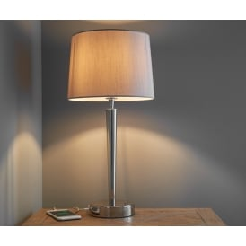 Syon Elegant Table Lamp With USB Port In Bright Nickel Finish 72175