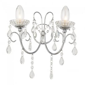Tabitha Crystal Glass Bathroom Wall Light in Chrome Finish 61385
