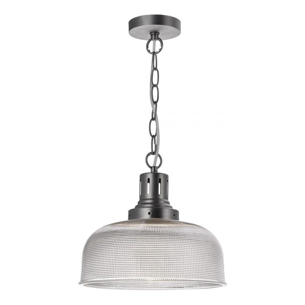 Tack 1 light ribbed glass pendant ceiling light tac0161