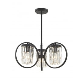 Talin 3 Light Crystal Duo Mount Ceiling Light In Black Finish CF1703/03/BLK
