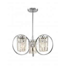 Talin 3 Light Crystal Duo Mount Ceiling Light In Chrome Finish CF1703/03/CH