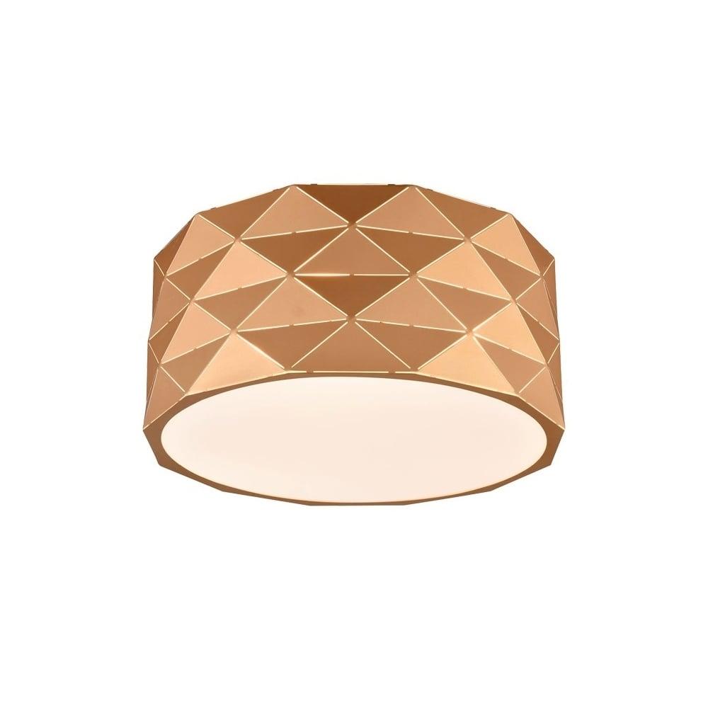 Tangent Modern Flush Ceiling Light In Rose Gold Finish Cf5769