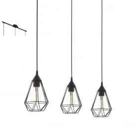 Tarbes Vintage 3 Light Ceiling Pendant In Black Finish 94189