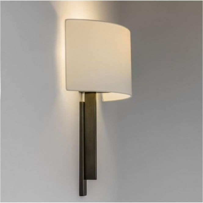 Astro Lighting Tate Contemporary Wall Light in Bronze with White Shade 7253 + 4135