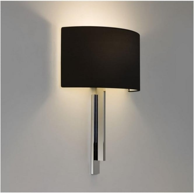 Astro Lighting Tate Contemporary Wall Light in Chrome with Black Shade 7254 + 4136