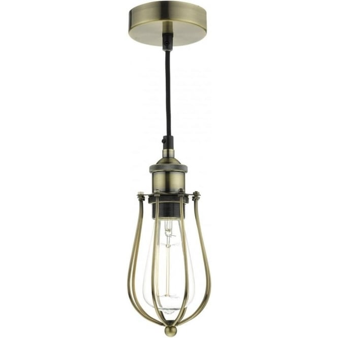 Dar Lighting Taurus Metal Cage Ceiling Pendant Light In Antique Brass TAU0175