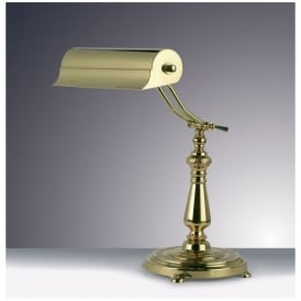 TB16159 One Light Brass Bankers Table Lamp