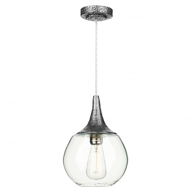 David Hunt Lighting Teardrop Contemporary Ceiling Pendant Light In Pewter Finish With Clear Glass TEA0167
