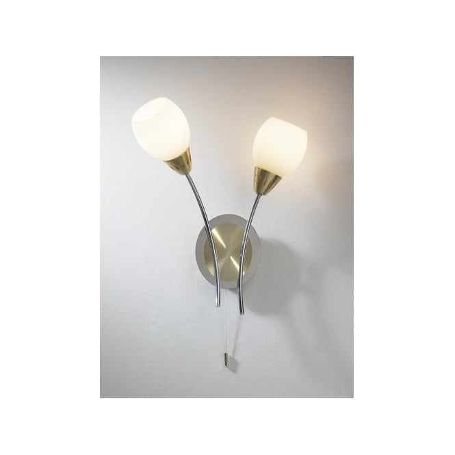 Dar Lighting TEM0941 Tempo Wall Light in Polished Chrome and Satin Brass