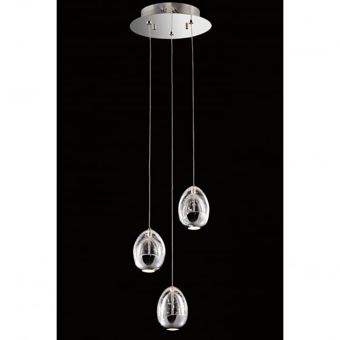 Illuminati Lighting Terrene Modern 3 Light LED Ceiling Pendant Fitting In Chrome Finish MD13003023-3A CHR