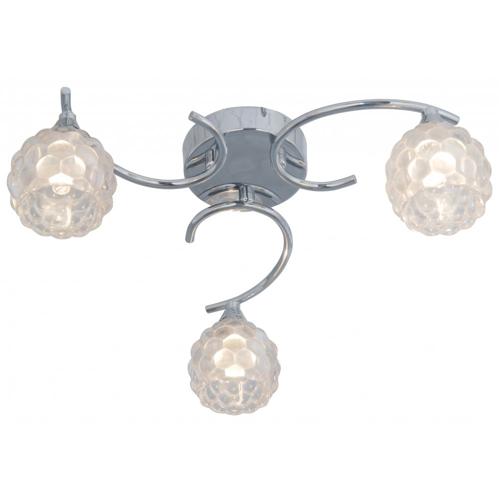Thlc chrome 3 way ceiling light with clear bubble glass - Clear glass ceiling light ...