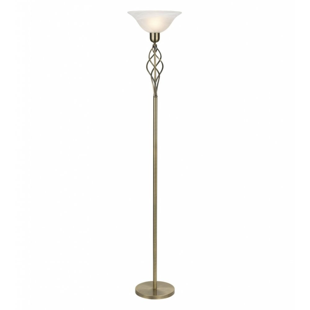 Classic Torchiere Floor Lamp Uplighter Light In Antique Brass Finish
