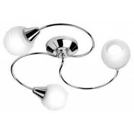 Modern Chrome 3 Way Semi Flush Ceiling Light with White Glass shades