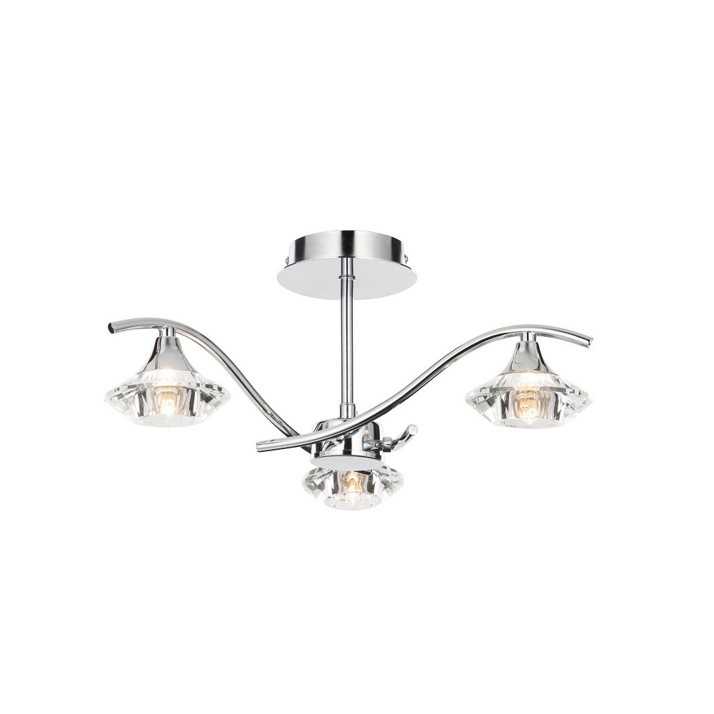 Thlc modern crystal and polished chrome 3 light semi flush ceiling modern crystal and polished chrome 3 light semi flush ceiling light aloadofball Choice Image