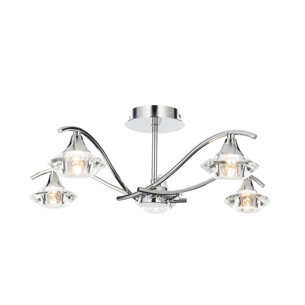 Thlc modern crystal and polished chrome 5 light semi flush ceiling modern crystal and polished chrome 5 light semi flush ceiling light aloadofball Choice Image