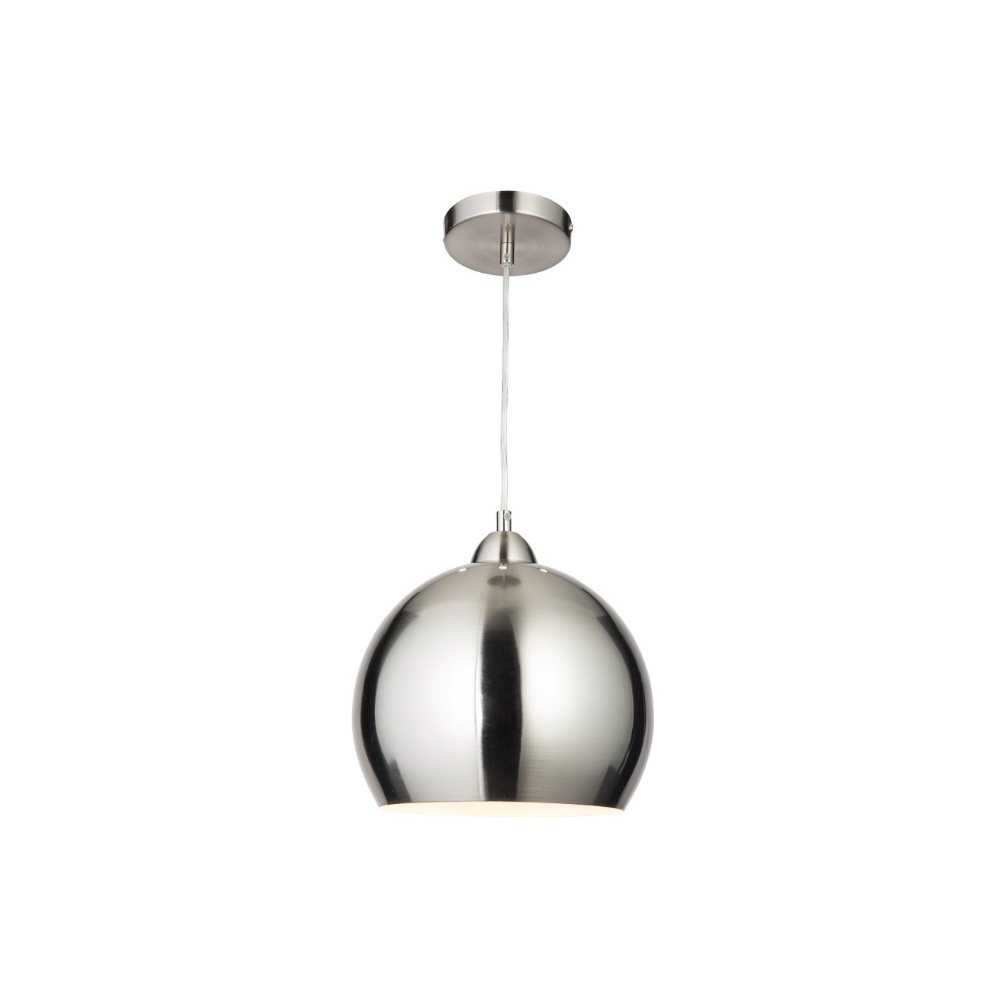 Superior Modern Globe Cafe Pendant Light In Satin Chrome