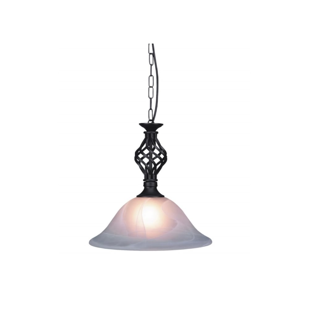 Thlc traditional knot twist ceiling pendant light in black finish traditional knot twist ceiling pendant light in black finish with alabaster glass aloadofball Images