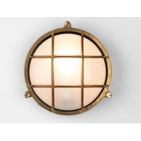 Thurso Round Outdoor Flush Light In Natural Brass Finish IP44 7880