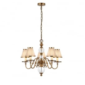 Tilburg Stylish 5 Light Chandelier in Antique Brass Finish With Beige Shades 70819