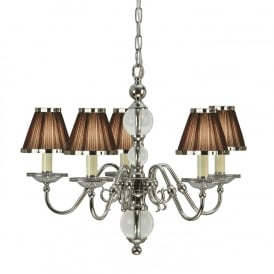 Tilburg Stylish 5 Light Chandelier in Polished Nickel Finish With Chocolate Shades 63716