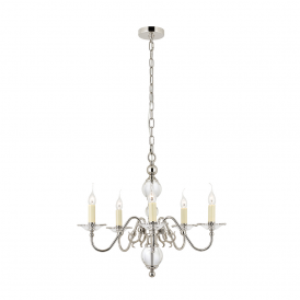 Tilburg Stylish 5 Light Chandelier in Polished Nickel Finish With Crystal CA20P5N