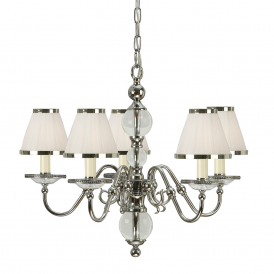 Tilburg Stylish 5 Light Chandelier in Polished Nickel Finish With White Shades 63714