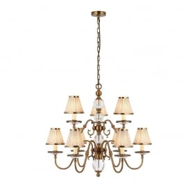 Tilburg Stylish 9 Light Chandelier in Antique Brass Finish With Beige Shades 70820