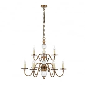 Tilburg Stylish 9 Light Chandelier in Antique Brass Finish With Crystal CA20P9B