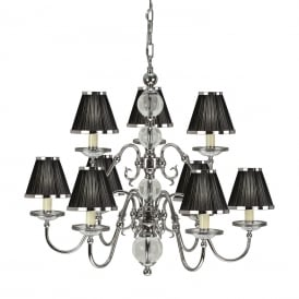 Tilburg Stylish 9 Light Chandelier in Polished Nickel Finish With Black Shades 63719