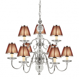 Tilburg Stylish 9 Light Chandelier in Polished Nickel Finish With Chocolate Shades 63717