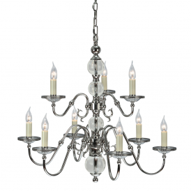 Tilburg Stylish 9 Light Chandelier in Polished Nickel Finish With Crystal CA20P9N