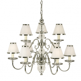 Tilburg Stylish 9 Light Chandelier in Polished Nickel Finish With White Shades 63715